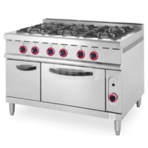 Industrial 6 Burners Gas Cooker Range with Oven