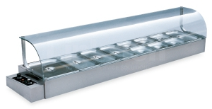 Industrial curved-galss-bain-marie